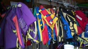 Lifejackets hanging on rack