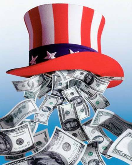 U.S.A hat with dollar bills flooding out of the bottom
