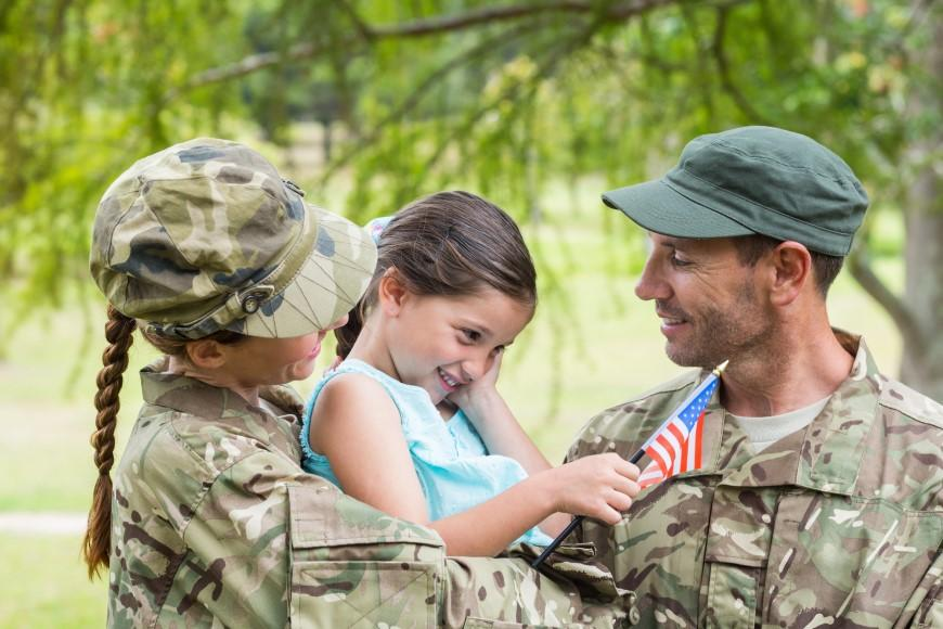 Military Mom and Dad with Daughter