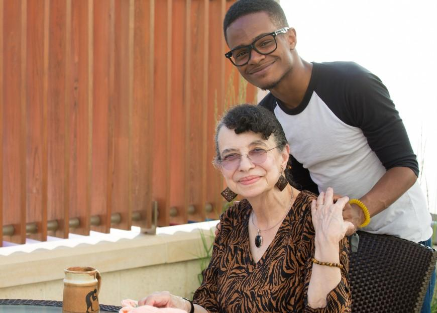 Young African-American man with elderly relative