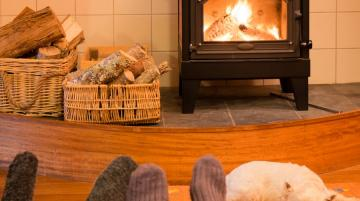 couple relaxing in front of fireplace with their dog