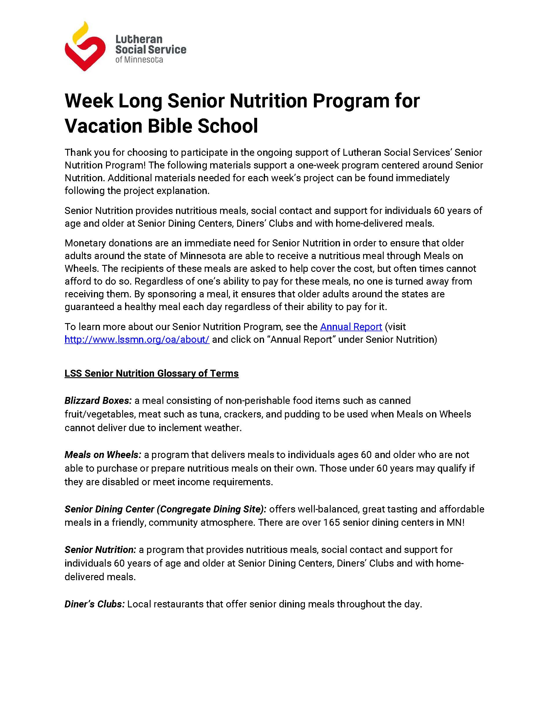 Senior Nutrition Program for Vacation Bible School