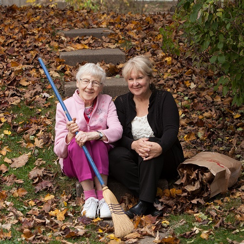 Women together raking leaves.