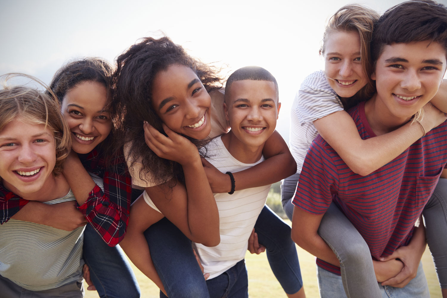 Group of six teenagers